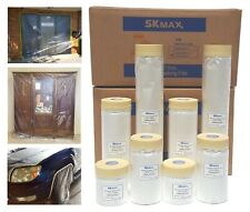 SKmax Pre-Taped Masking Film, Painter's Plastic Covering, 3/4
