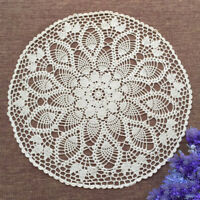 Vintage Hand Crochet Lace Doily Tablecloth Cover Round White Table Topper 23inch