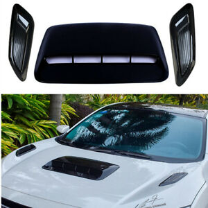 Glossy Black Car Hood Scoop Center & Side Air Flow Vent Intake Decorative Cover