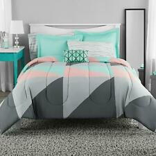 Bedding Set Grey & Teal 8 Pc Bed In A Bag With Sheet Luxurious Flat Cozy On Sale