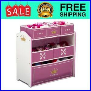 Princess Kids Girls Playroom Multi Bin Toy Organizer Storage Box Chest Pink