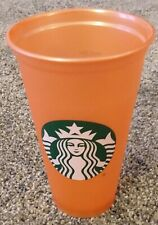 Starbucks Reusable Coffee Tea Cup Tumbler Orange Travel 16oz Plastic Mug Holiday