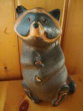 "1996 Big Sky Carvers Jeff Fleming ""Emily"" Raccoon Wood Carved Sculpture"