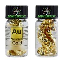 Oro metallico elemento 79 Au 24K 99,99% grande foglio in fiala etichettata