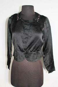 RARE FRENCH ANTIQUE EDWARDIAN BLACK EMBROIDERED SILK SATIN BLOUSE SIZE MEDIUM