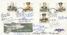 FDC RAF Full Set of  Royal Air Force Stamps Signed 13 pilots, Crew
