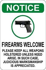 Warning Gun Allowed  Polystyrene Novelty Funny Hunting Security 1