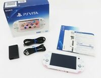 Sony PS Vita Pink White Slim PCH-2000 w/ Charger + Box From Japan [Excellent+]