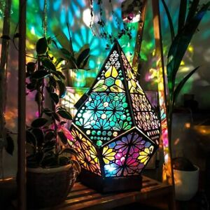 Hollow LED Projection Night Lamp Holiday Atmosphere Home Lighting Wooden 18x11cm