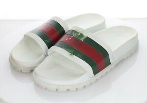 S33 $210 Men's Sz 10 M Gucci Pursuit 72 Rubber Pool Slide In White