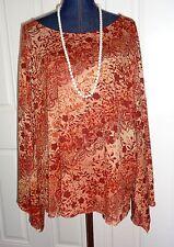 VENEZIA Brown Rust Floral Prints Flared Angel Sleeves Top Size 26/28