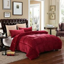 Down Alternative Supreme Plush Comforter Blanket Full/Queen 3 Piece Set Burgundy