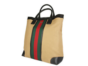 GUCCI Sherry Line Canvas Leather Tote Bag GT2667