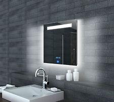 Design Badezimmerspiegel Wandspiegel Spiegel Beleuchtung LED Uhr 60x65cm ML6506
