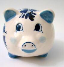 Delft Blue Pig Hog Piggy Bank Hand Painted Holland Windmills Flowers Porcelain