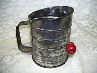 Antique Metal Flour Sifter with Red Wood Knob Turn Handle Bromwell USA