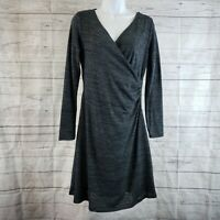 Prana Womens Nadia Dress Sz Medium Coal Gray Faux Wrap Long Sleeve