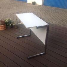 Beistelltisch, mini Schreibtisch, Schulbank, Tisch, weiß, Chrom-Gestell