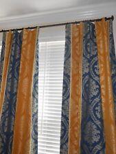 Scalamandre fabric Custom drapes Palazzo Stripe Damask Stripes yellow blue PAIR