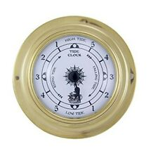 Small, light Tide clock in Porthole shape out brass - Ship clock