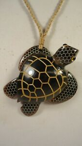 Lee Sands Carved Buffalo Horn Sea turtle Necklace