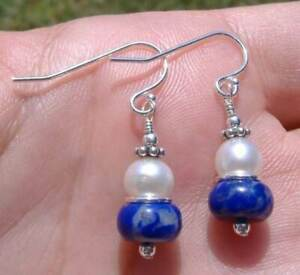 Natural Lapis, White Pearl & Sterling Silver Earrings Unique Sundance Arti