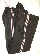 SJB ACTIVE Women's Athletic Workout Pants Black w/ Lilac & White Trim Lined Sz L