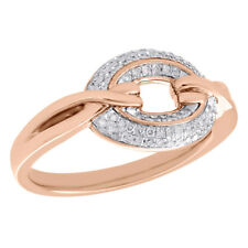 Right Hand Twisted Band 0.20 Ct. 10K Rose Gold Diamond Circle Ring Ladies