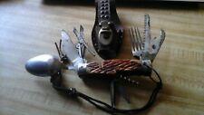 Vintage Camping Survival Spoon, Fork & Multi-Tool Folding Knife & Leather Sheath