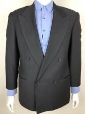 Mani Armani Mens Suit Jacket Blazer Double Breasted Black Wool Tag 37S Actual 40