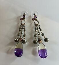 "Vermeil Ametrine & Pyrite Earrings Drop 3.5""- Amethyst Ear Post"