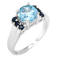 EARTH MINED 8MM SKY BLUE TOPAZ & BLUE SAPPHIRE STERLING SILVER 925 RING SIZE 7