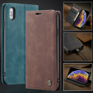 Apple iPhone 7 8 Plus XR XS Max Case Magnetic Leather Wallet Flip Cover Stand AU