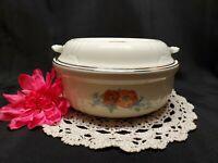 Vintage Hall's Superior Quality Kitchenware Casserole Dish W/ Lid - Orange Poppy