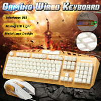 Mechanical Gaming Keyboard Mouse Set Kit LED Backlit Wired USB For Computer PC