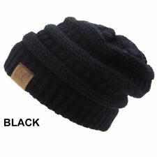 Men Women Plain CC Beanie Cap Slouch Bubble Knit Winter Ski Baggy Oversize Hat