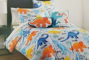 4 pc Boy Zone Dinosaurs Twin Comforter, Sham & Decorative Pillows Set NIP