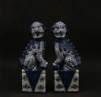 "6.7"" China Ceramics Jingdezhen Blue White Porcelain Foo Fu Dog Lion Statue Pair"