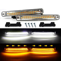 Dual Color LED DRL Light Strip Tube White & Amber Daytime Running Turn Signal
