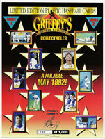1992 GRIFFEY'S GOLDEN MOMENTS LIMITED ED PLASTIC PROMO SHEET GLOSSY 790 OF 1000