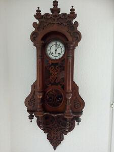 Wanduhr antik, Pendeluhr, Regulator, 1908, Holz