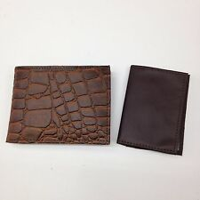 Genuine Leather Brown Bifold Credit Card/ID Wallet Set Handmade in India