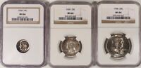 1958 NGC MS66 Mint Set Toners TRIO Quarter Dime Half Old Silver Coins US Type