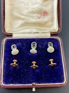 Fine Antique Mens 9ct Gold & Mother of Pearl Dress Shirt Button Studs in Case