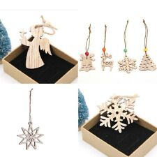 2  or 5  Angel Star Snowflake Christmas Figure Vintage Gift Tag Twine DIY Wood
