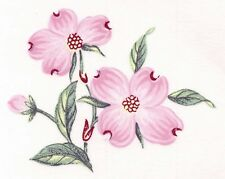 """6 Pink Dogwood Flower Gold Accents 2"""" Waterslide Ceramic Decals Xx"""