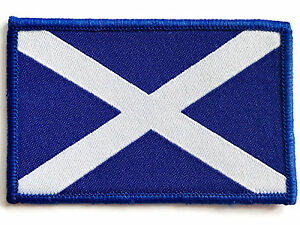 EMBROIDERED SCOTTISH FLAG PATCH sew on cloth badge Scotland blue & white cross