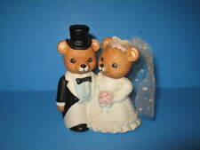 Homco Ceramic Porcelain Bride and Groom Bears Wedding Cake Topper Figurine
