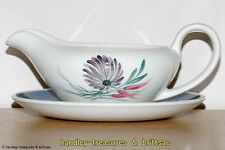 Susie Cooper Blue Dahlia 2413 Hand Painted Gravy Boat and Saucer