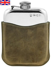 Hand Made Pewter Hip Flask 6oz Captive Top, Stone Leather Sleeve, Free Engraving